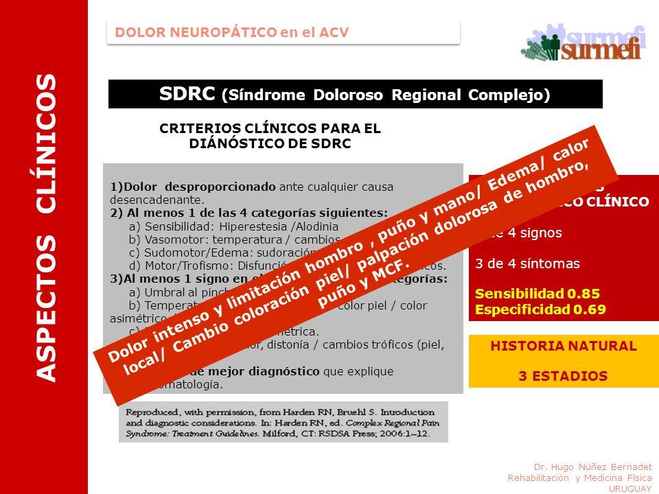 ASPECTOS CLÍNICOS SDRC (Síndrome Doloroso Regional Complejo)