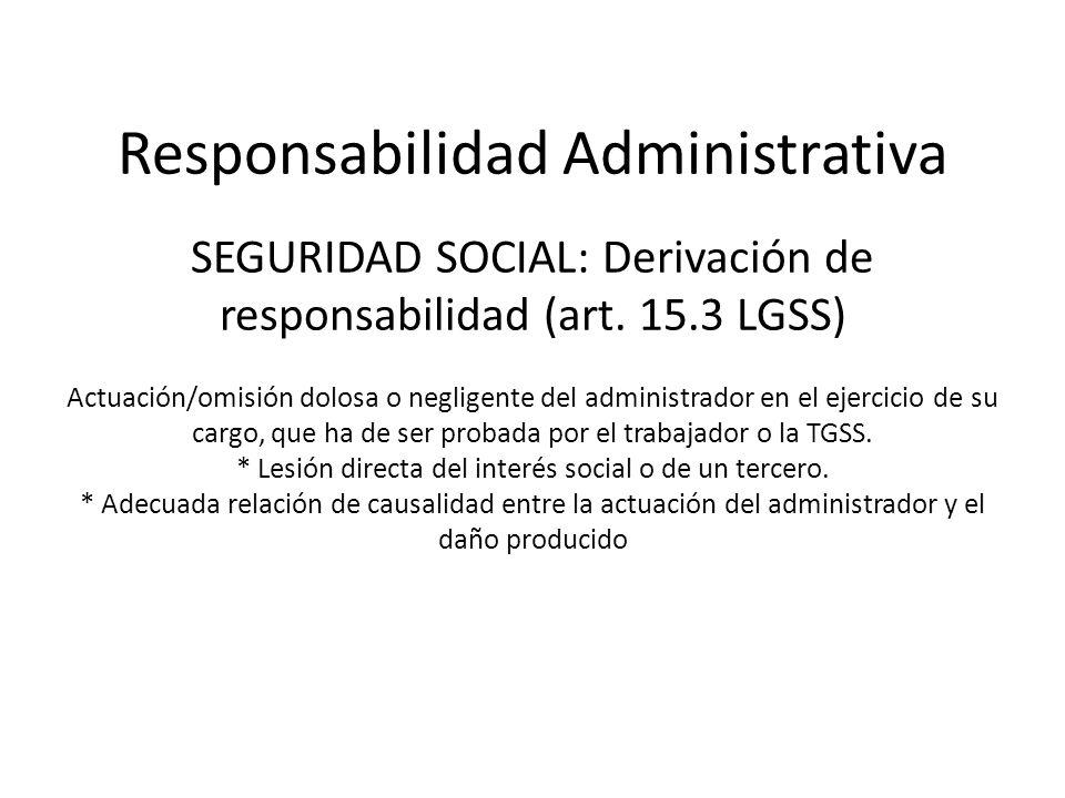 Responsabilidad Administrativa SEGURIDAD SOCIAL: Derivación de responsabilidad (art.