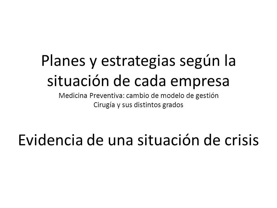 Planes y estrategias según la situación de cada empresa Medicina Preventiva: cambio de modelo de gestión Cirugía y sus distintos grados Evidencia de una situación de crisis
