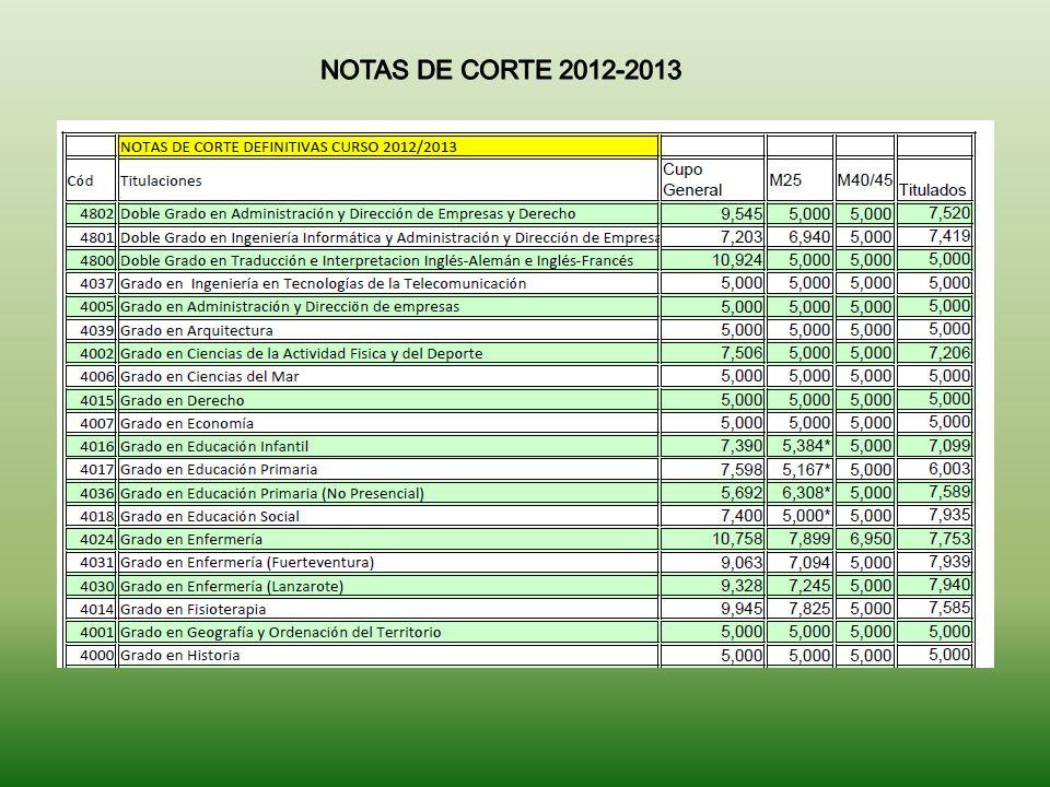 NOTAS DE CORTE 2012-2013