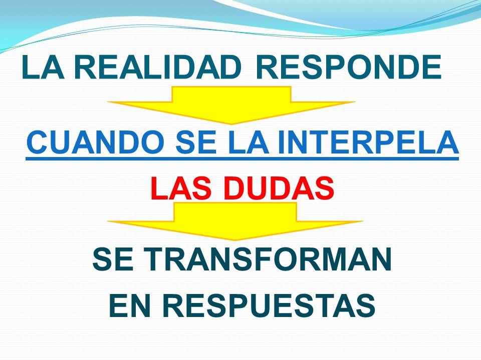 CUANDO SE LA INTERPELA LAS DUDAS SE TRANSFORMAN EN RESPUESTAS
