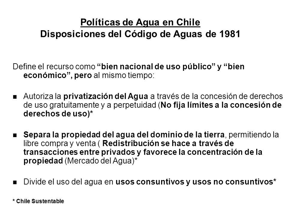 Políticas de Agua en Chile Disposiciones del Código de Aguas de 1981