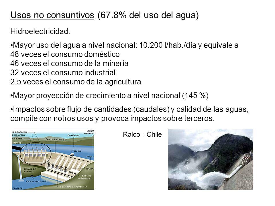 Usos no consuntivos (67.8% del uso del agua)