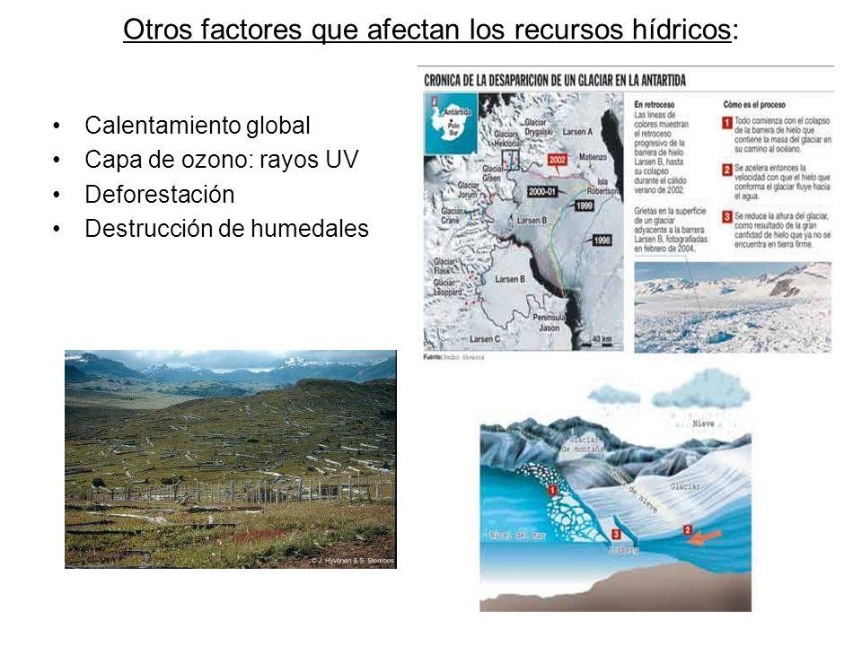 Otros factores que afectan los recursos hídricos: