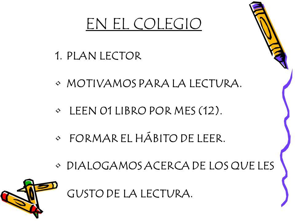 EN EL COLEGIO PLAN LECTOR MOTIVAMOS PARA LA LECTURA.