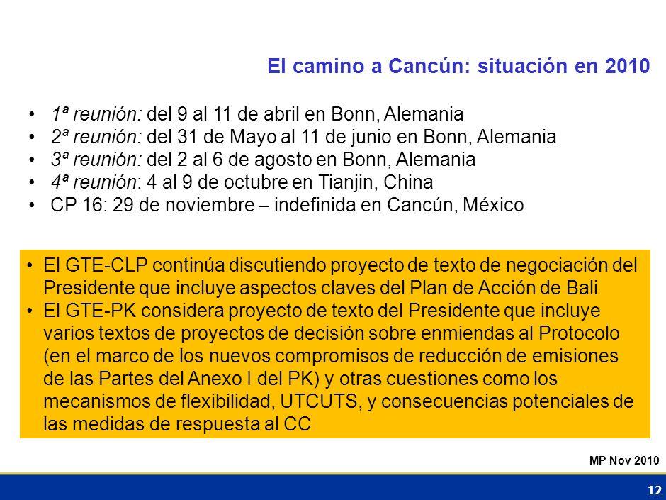 El camino a Cancún: situación en 2010