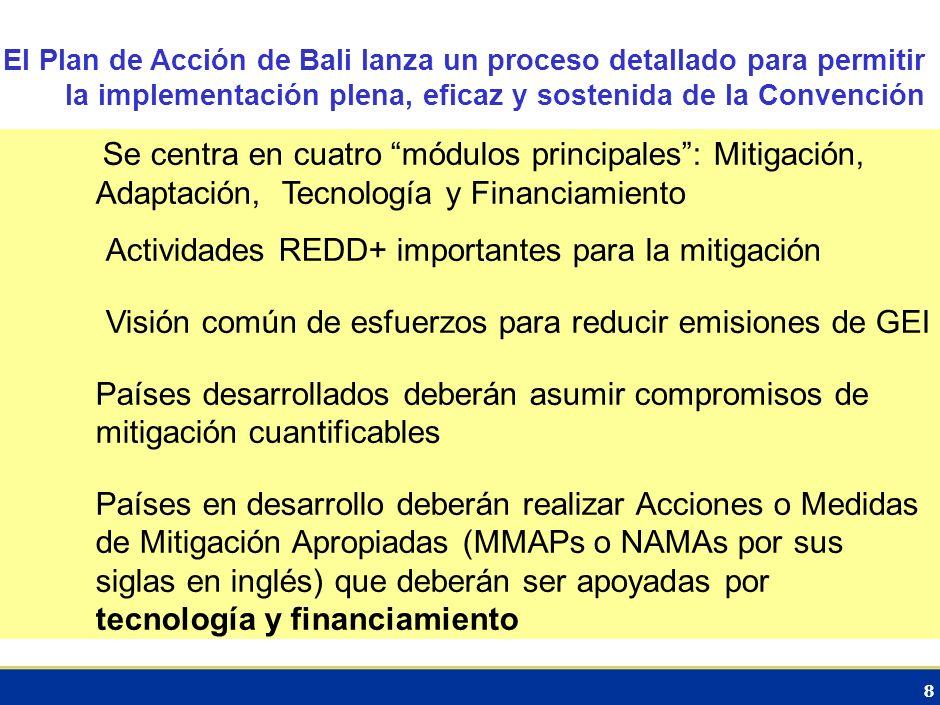 Actividades REDD+ importantes para la mitigación