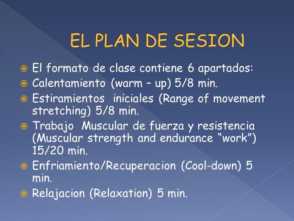 EL PLAN DE SESION El formato de clase contiene 6 apartados: