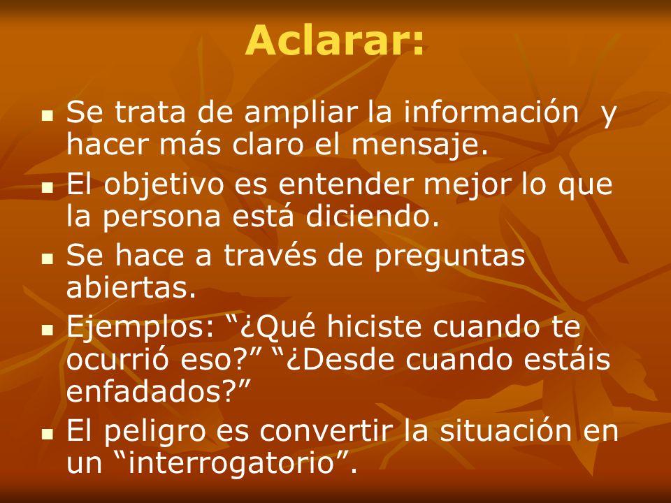 Aclarar: Se trata de ampliar la información y hacer más claro el mensaje. El objetivo es entender mejor lo que la persona está diciendo.