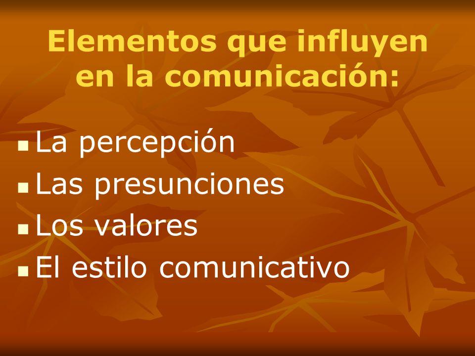 Elementos que influyen en la comunicación: