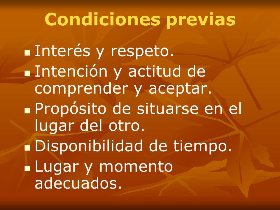 Condiciones previas Interés y respeto.