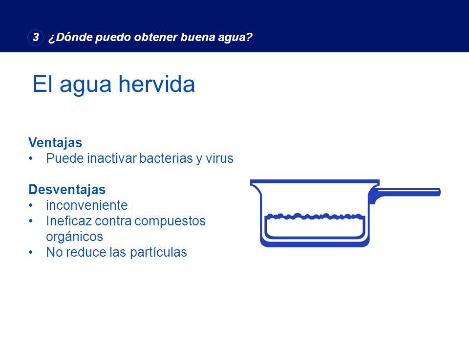 El agua hervida Advantages Ventajas Puede inactivar bacterias y virus