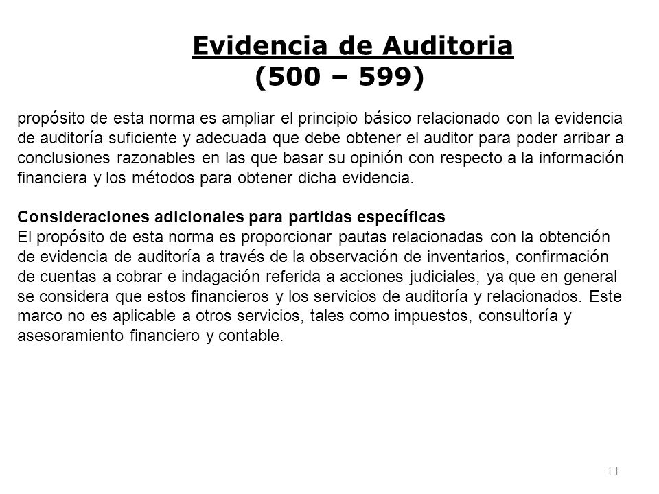 Evidencia de Auditoria (500 – 599)