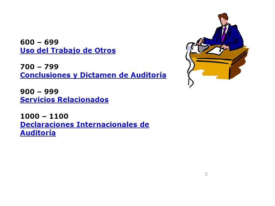 600 – 699 Uso del Trabajo de Otros. 700 – 799. Conclusiones y Dictamen de Auditoría. 900 – 999. Servicios Relacionados.