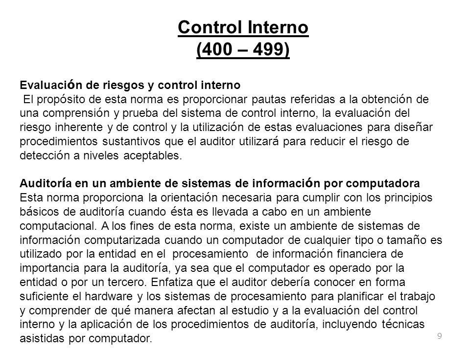 Control Interno (400 – 499) Evaluación de riesgos y control interno