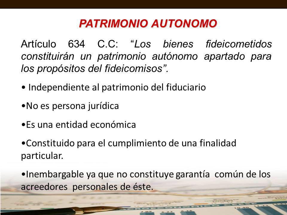 PATRIMONIO AUTONOMOArtículo 634 C.C: Los bienes fideicometidos constituirán un patrimonio autónomo apartado para los propósitos del fideicomisos .