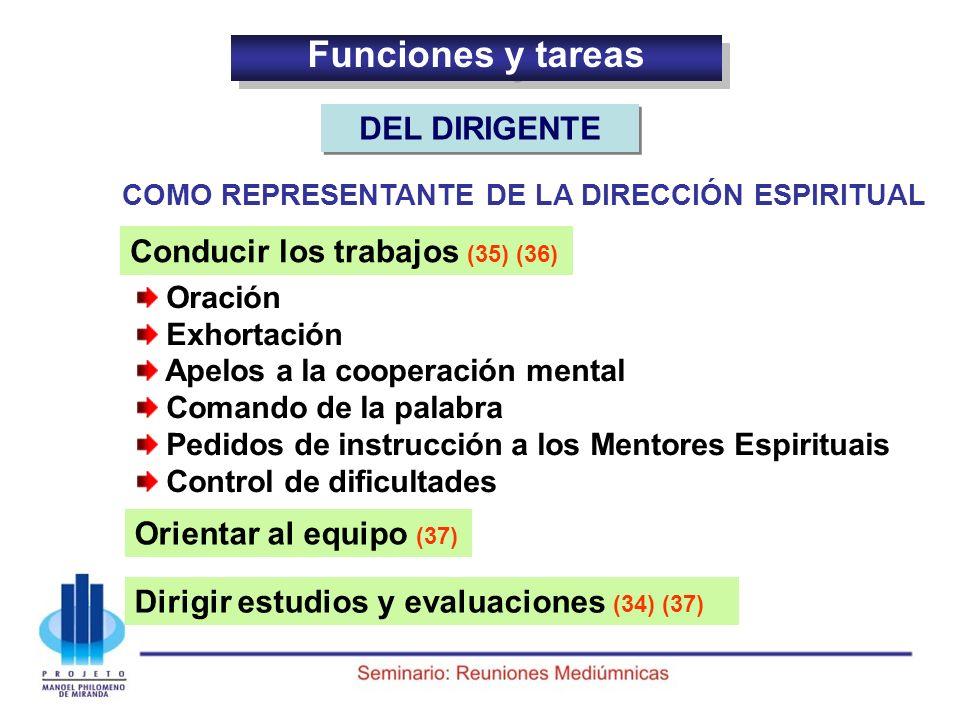 Funciones y tareas DEL DIRIGENTE Conducir los trabajos (35) (36)