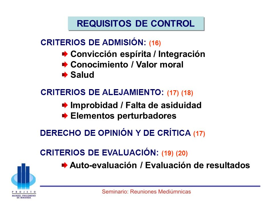 REQUISITOS DE CONTROL Convicción espírita / Integración