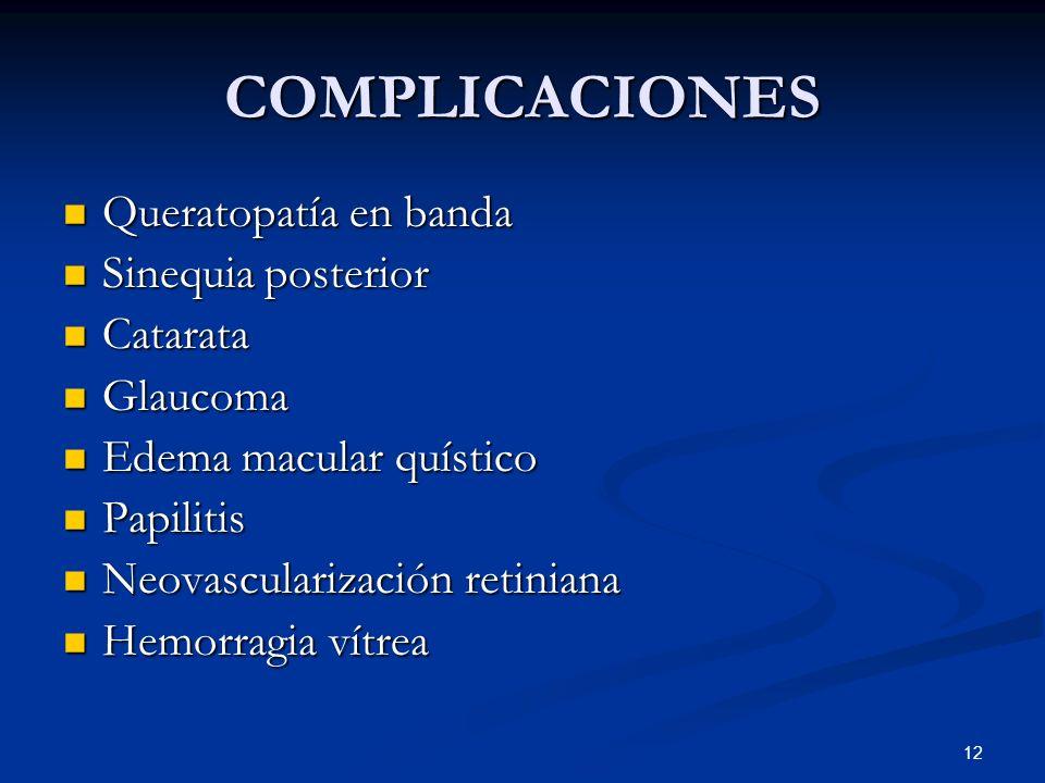 COMPLICACIONES Queratopatía en banda Sinequia posterior Catarata