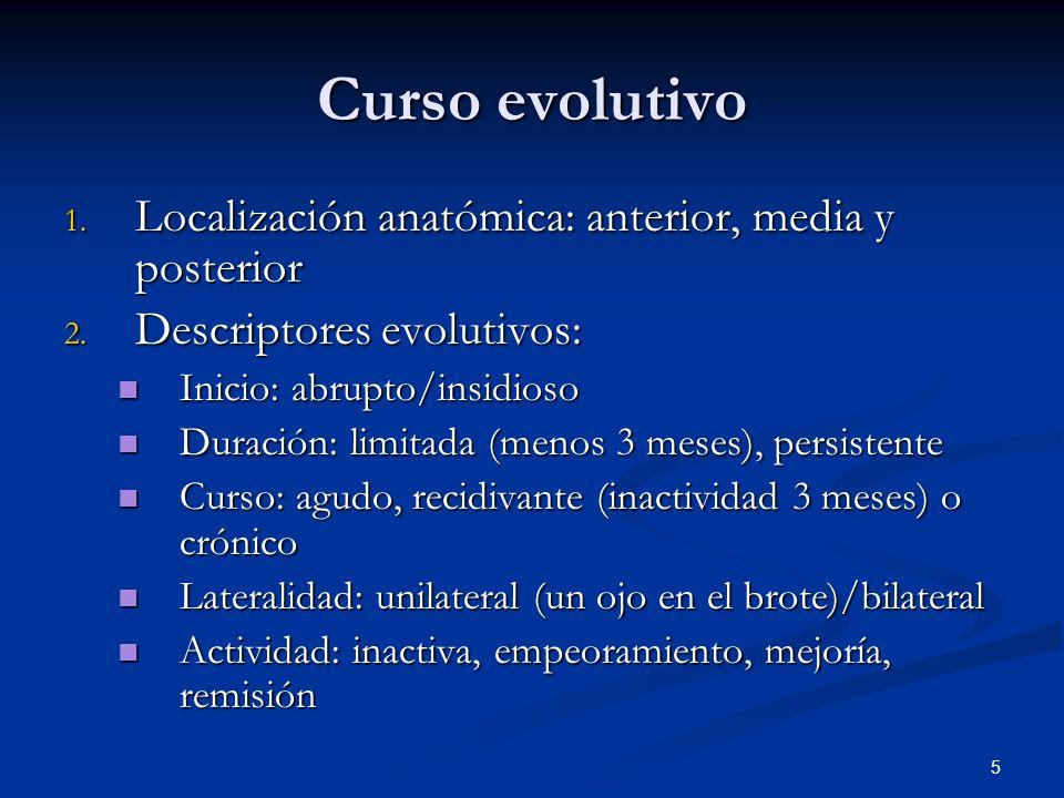 Curso evolutivo Localización anatómica: anterior, media y posterior