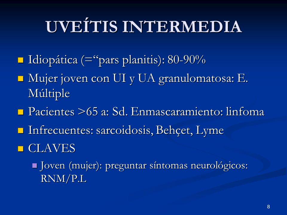 UVEÍTIS INTERMEDIA Idiopática (= pars planitis): 80-90%