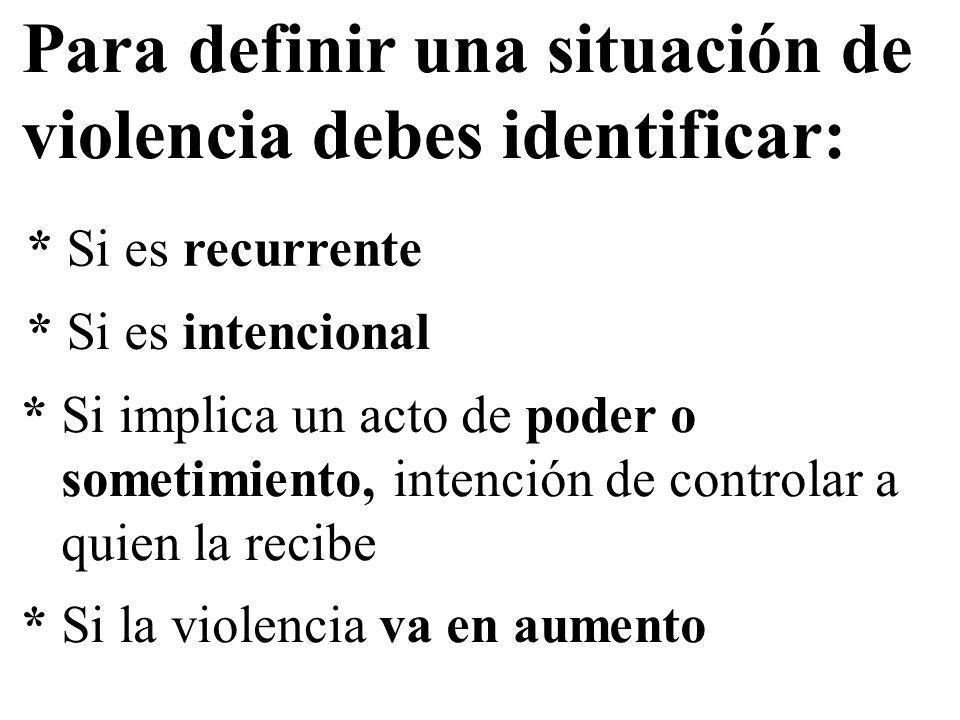 Para definir una situación de violencia debes identificar: