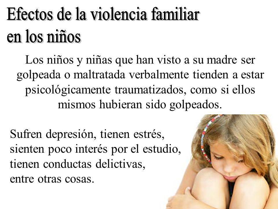 Efectos de la violencia familiar en los niños