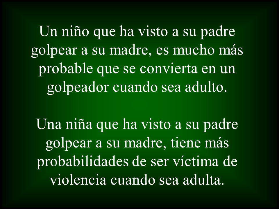 Un niño que ha visto a su padre golpear a su madre, es mucho más probable que se convierta en un golpeador cuando sea adulto.