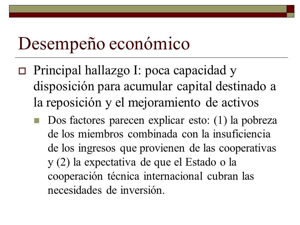 Desempeño económico Principal hallazgo I: poca capacidad y disposición para acumular capital destinado a la reposición y el mejoramiento de activos.