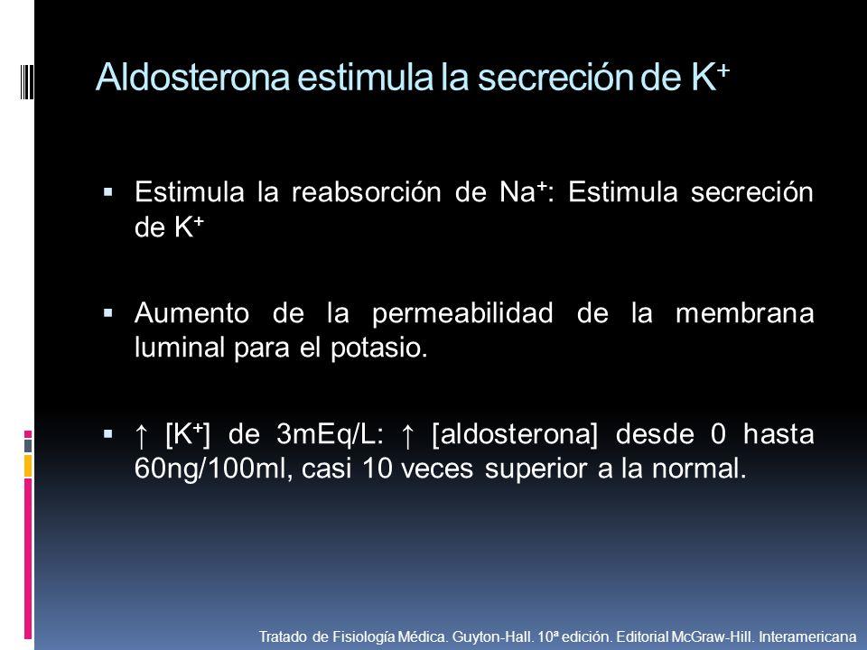 Aldosterona estimula la secreción de K+