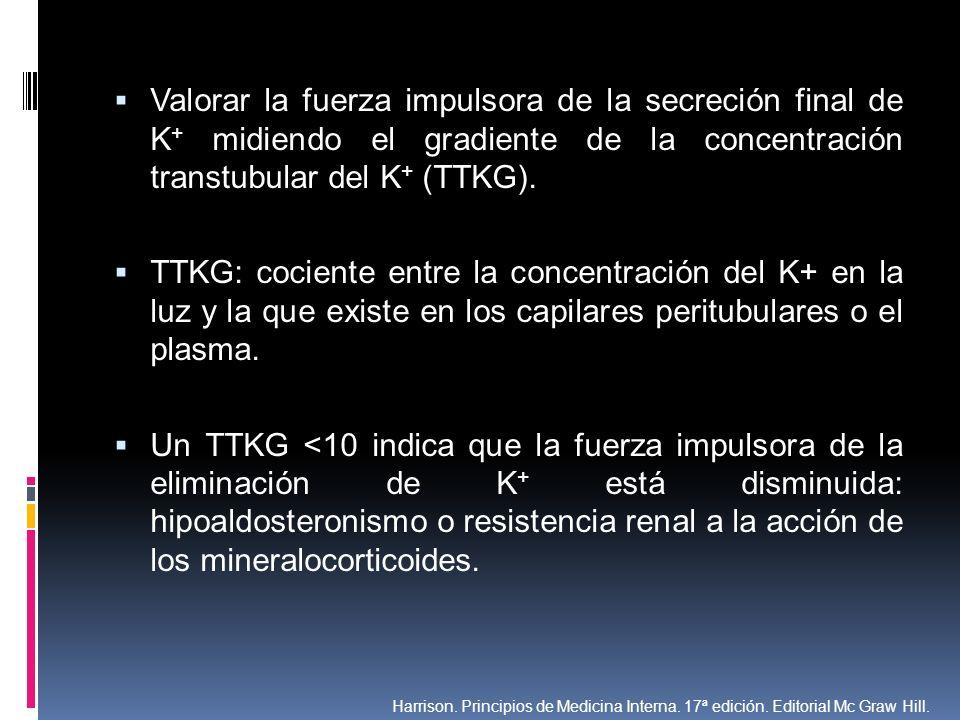 Valorar la fuerza impulsora de la secreción final de K+ midiendo el gradiente de la concentración transtubular del K+ (TTKG).