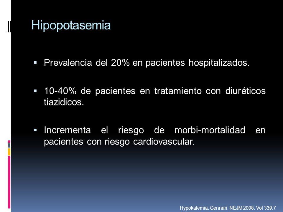 Hipopotasemia Prevalencia del 20% en pacientes hospitalizados.