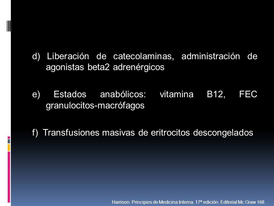 e) Estados anabólicos: vitamina B12, FEC granulocitos-macrófagos