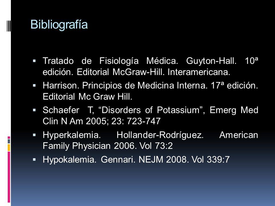 Bibliografía Tratado de Fisiología Médica. Guyton-Hall. 10ª edición. Editorial McGraw-Hill. Interamericana.