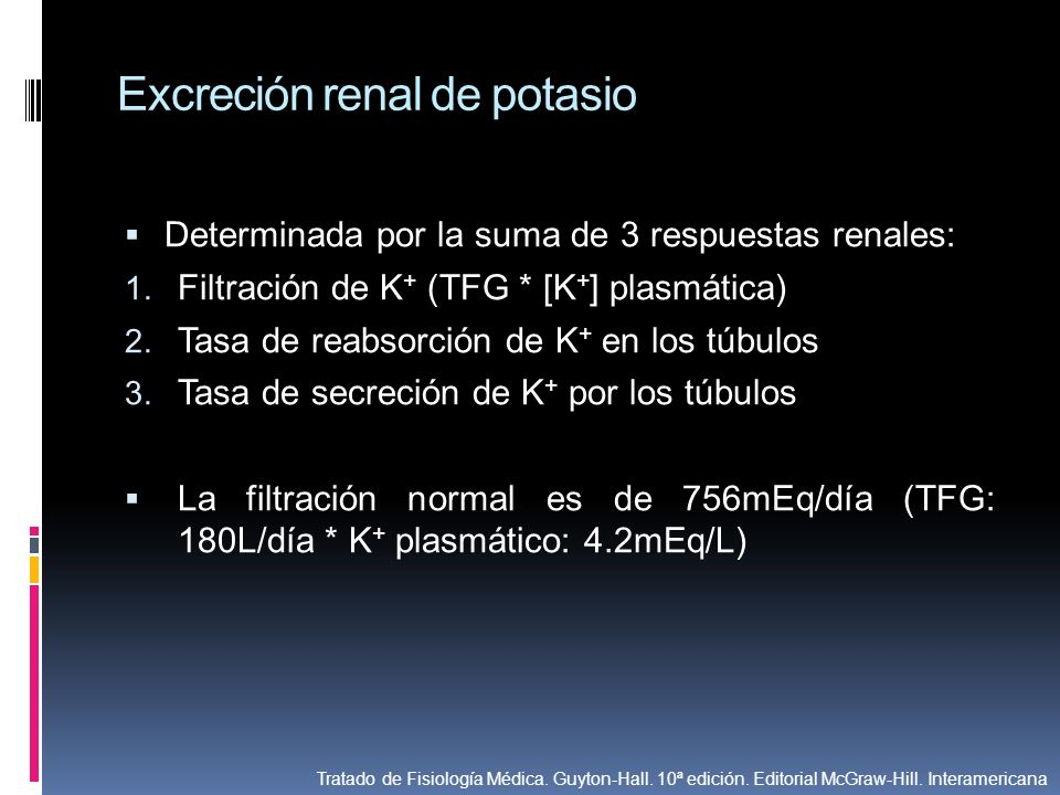 Excreción renal de potasio