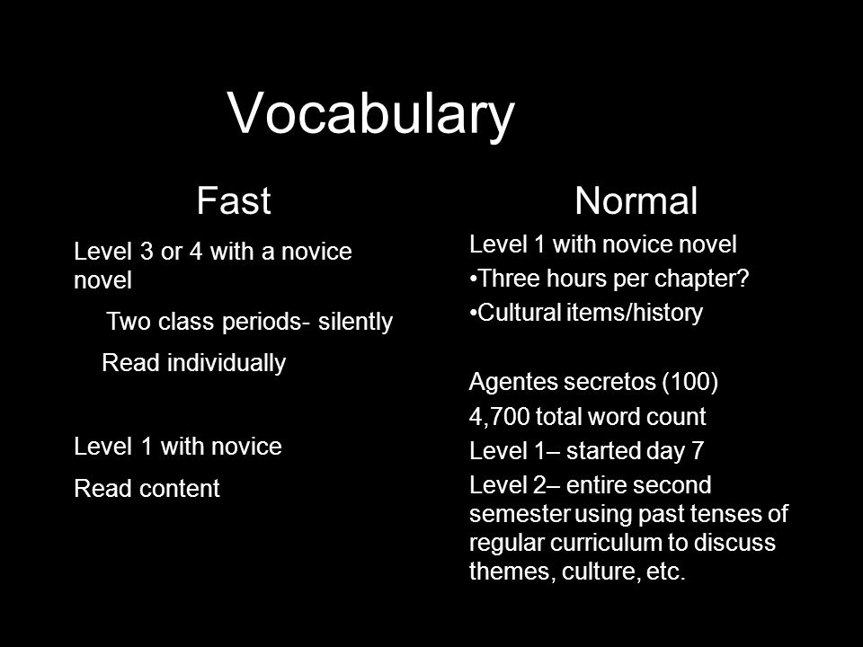 Vocabulary p. 70 Fast Normal Level 1 with novice novel