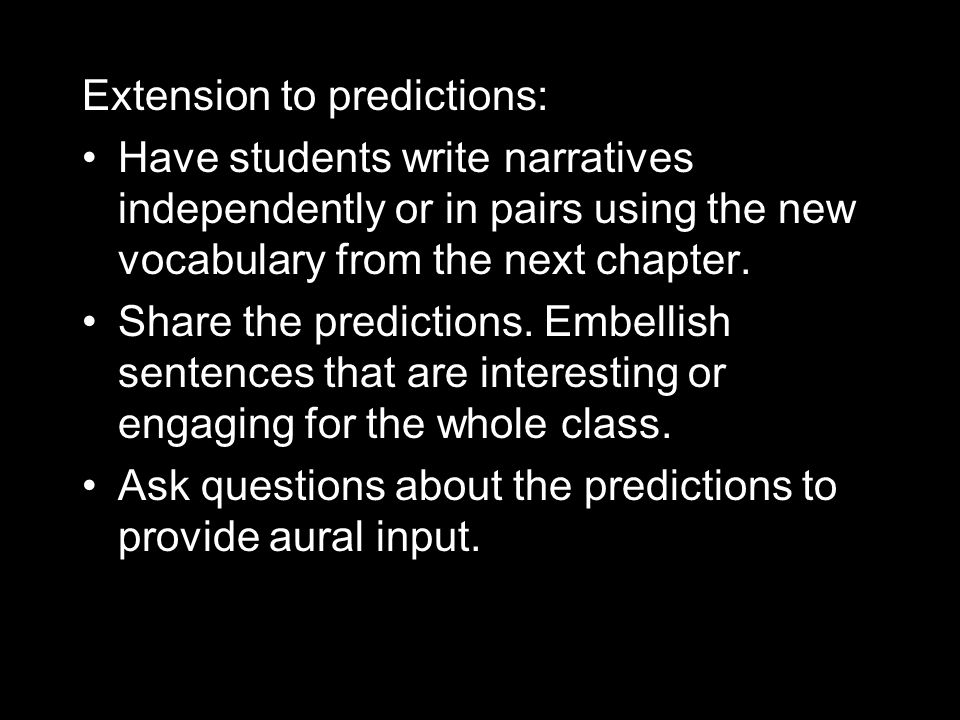 Extension to predictions: