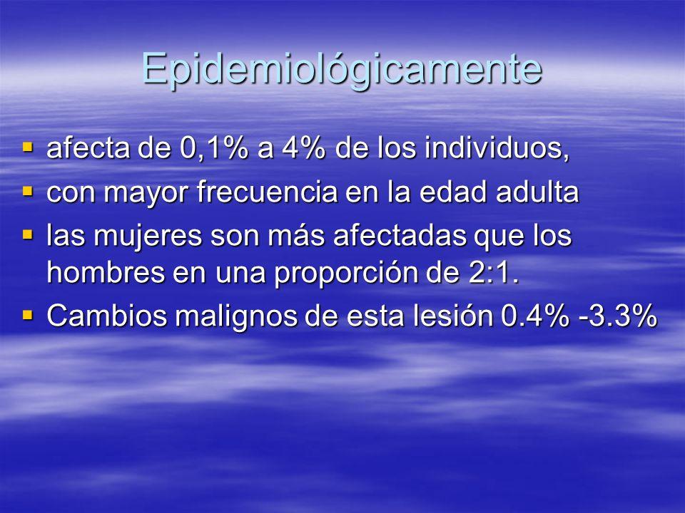 Epidemiológicamente afecta de 0,1% a 4% de los individuos,