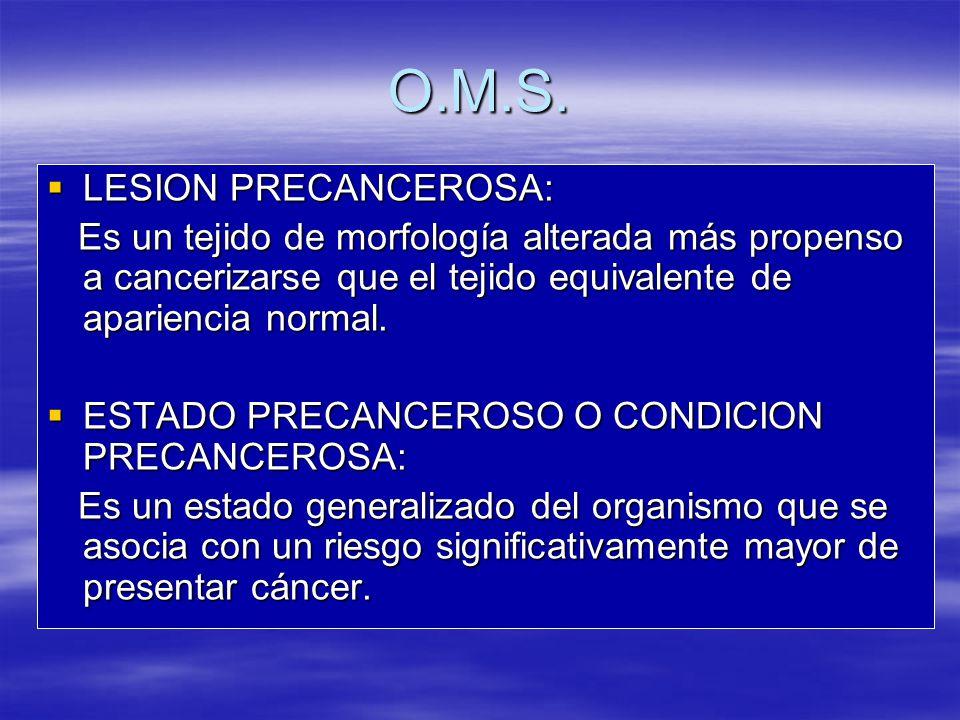 O.M.S. LESION PRECANCEROSA:
