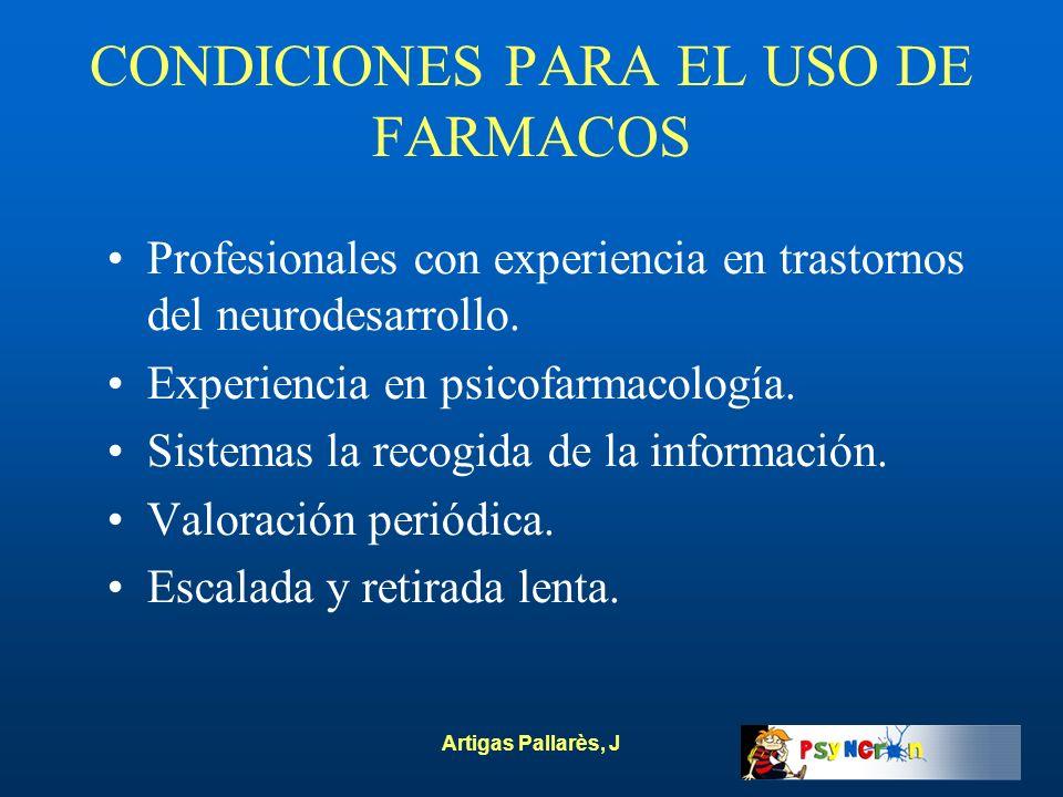 CONDICIONES PARA EL USO DE FARMACOS