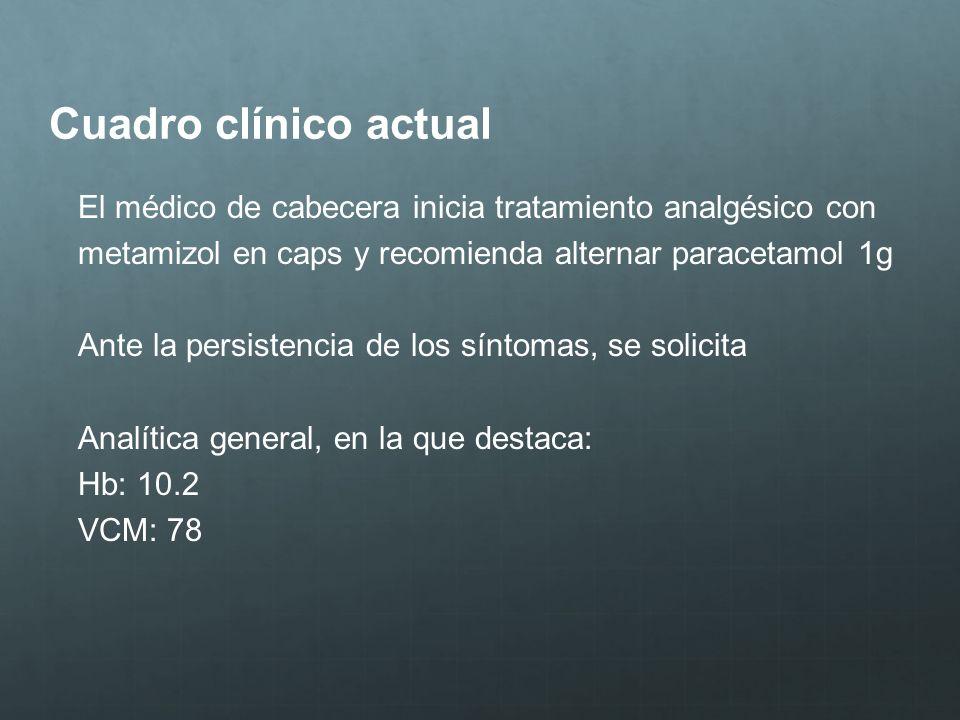 Cuadro clínico actualEl médico de cabecera inicia tratamiento analgésico con. metamizol en caps y recomienda alternar paracetamol 1g.