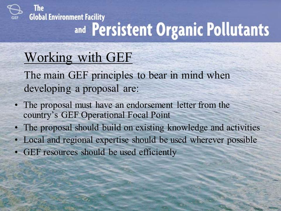 Working with GEF The main GEF principles to bear in mind when developing a proposal are: