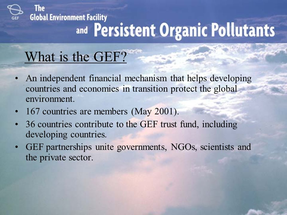 What is the GEF An independent financial mechanism that helps developing countries and economies in transition protect the global environment.
