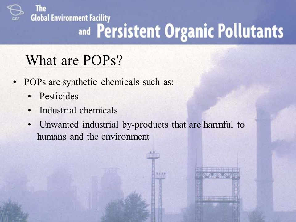 What are POPs POPs are synthetic chemicals such as: Pesticides