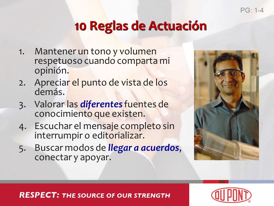 PG: 1-4 10 Reglas de Actuación. Mantener un tono y volumen respetuoso cuando comparta mi opinión.