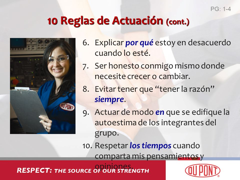 10 Reglas de Actuación (cont.)