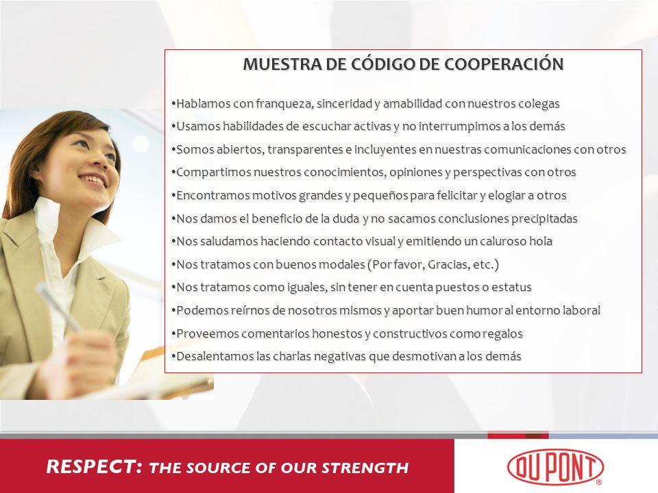MUESTRA DE CÓDIGO DE COOPERACIÓN