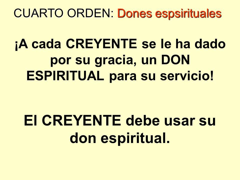 El CREYENTE debe usar su don espiritual.