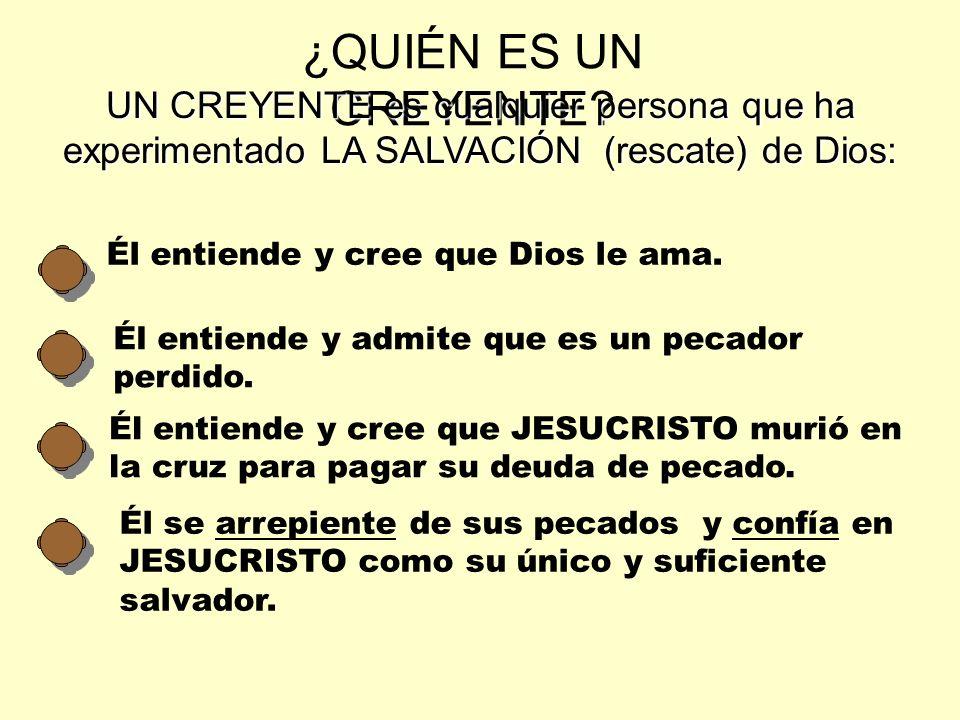 ¿QUIÉN ES UN CREYENTE UN CREYENTE es cualquier persona que ha experimentado LA SALVACIÓN (rescate) de Dios: