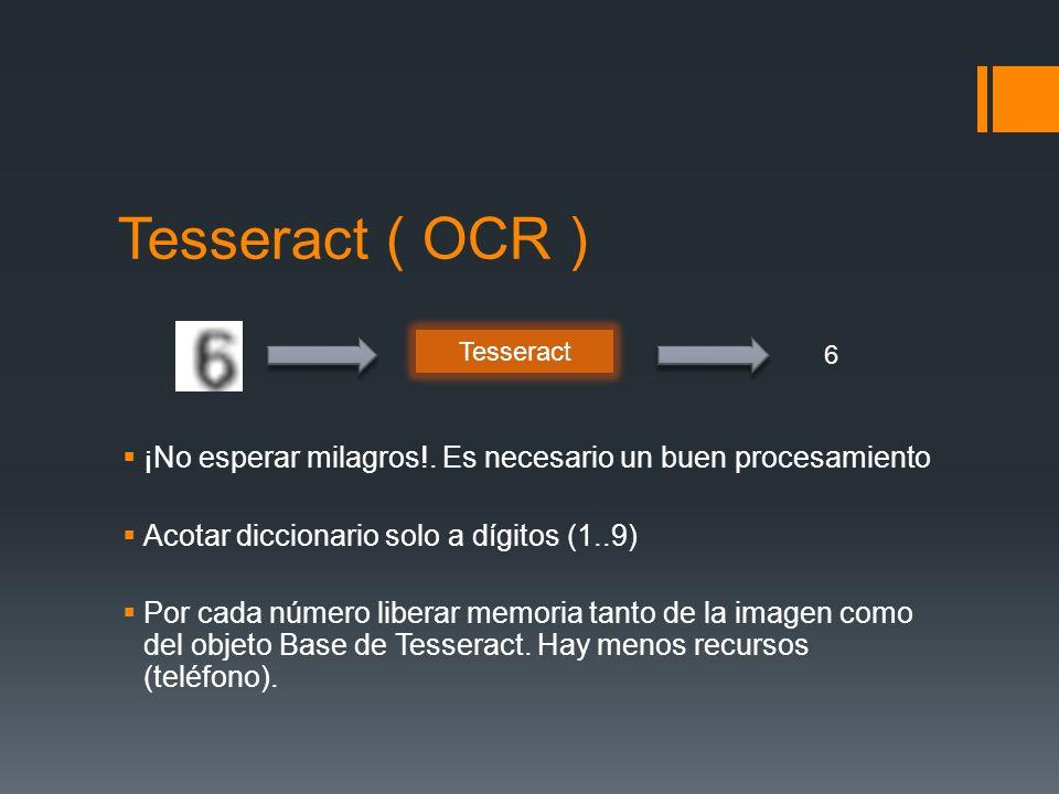 Tesseract ( OCR )¡No esperar milagros!. Es necesario un buen procesamiento. Acotar diccionario solo a dígitos (1..9)